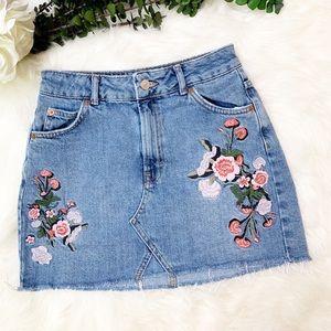 Topshop MOTO Floral Embroidered Denim Skirt